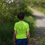 Boy starting a hike