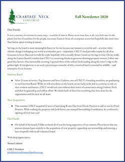 CNLT Fall 2020 newsletter
